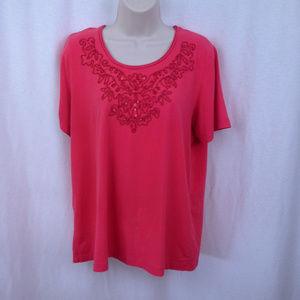 Samantha Grey top M Orange Red Bling T-shirt